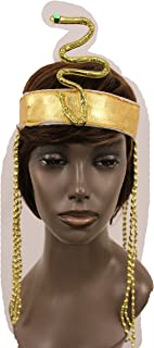 Trendy Fashion Jewelry TFJ Women Head Piece Forehead Halloween Gold Sequins Elastic Band Queen Cleopatra Snake Charm Party Long Beads Fringes Sexy Hair