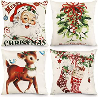 CDWERD Christmas Throw Pillow Covers 18x18 Inches Vintage Farmhouse Christmas Decorations Pillowcase Cotton Linen Cushion ...