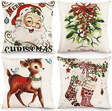 CDWERD Christmas Throw Pillow Covers 18x18 Inches Vintage Farmhouse Christmas Decorations Pillowcase Cotton Linen Cushion ...