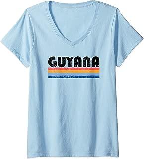 Womens Vintage 70s 80s Style Guyana V-Neck T-Shirt