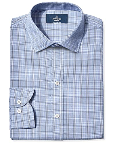 Men's Clothing Symbol Of The Brand Slim Fit Blue Plaid Herringbone Spread Collar Wrinkle Freee Cotton Dress Shirt Clothing, Shoes, Accessories