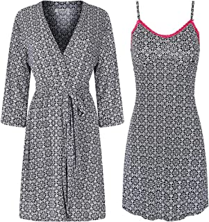 Image of Pretty Patterned Women's Chemise with Robe - More Prints Available