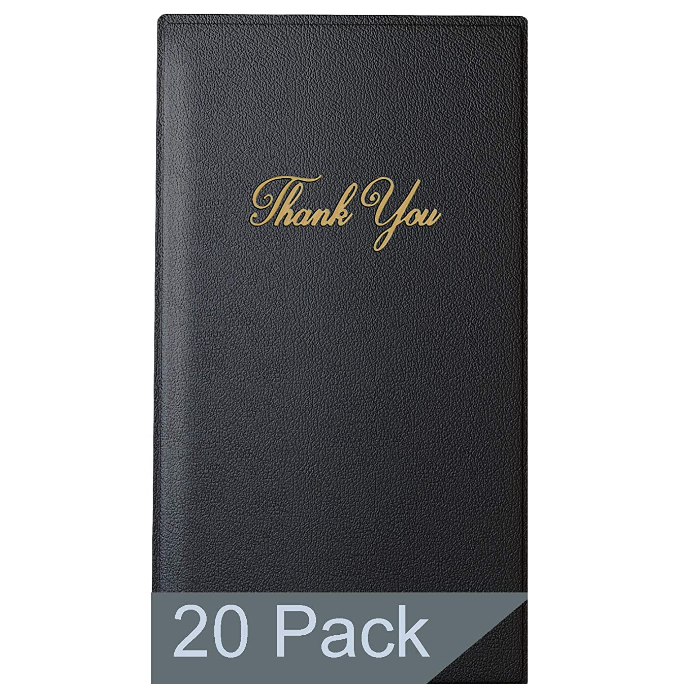 Restaurant Check Presenters - Guest Check Card Holder with Gold Thank You Imprint - 5.5