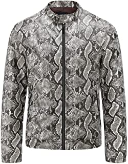 wuliLINL Men's Vintage Stand Collar Washed Snakeskin Faux Leather Jacket Motorcycle PU Faux Leather Outwear