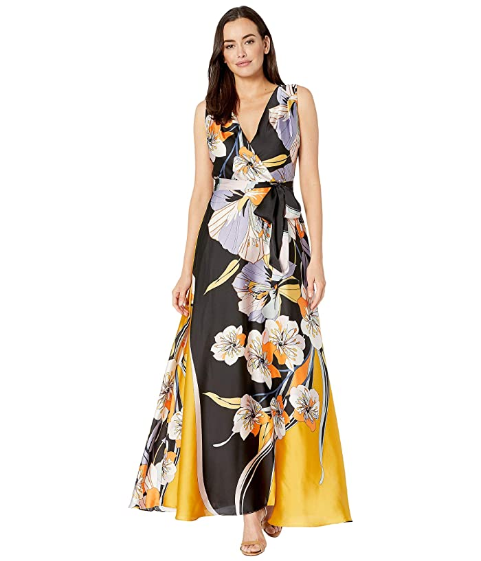 70s Prom, Formal, Evening, Party Dresses Tahari by ASL Sleeveless Printed Charmeuse Gown Retro Floral Swirl Womens Dress $188.00 AT vintagedancer.com