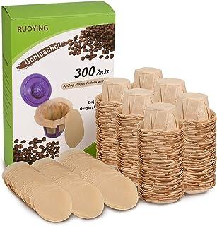 Eco-Sopure 無漂白 Kカップ コーヒーペーパーフィルター 蓋付き 使い捨て キューリグ再利用可能 Kカップフィルター 使い捨て キューリグフィルター 無漂白 すべてのキューリグシングルサーブフィルターブランドに適合 (300パック)