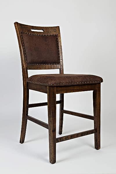 Benjara Benzara BM181623 Wooden Counter Height Chair Set Of Two Brown
