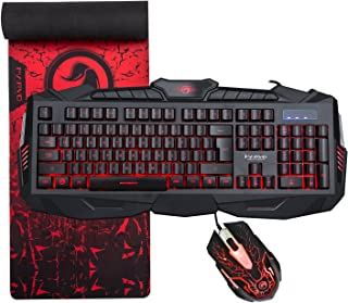 """MARVO KM400 Gaming Keyboard LED Mouse and Large Mouse pad Combo 3 Color Backlit Keyboards 7 Color 2400DPI Mice 27.6""""x8.8"""" ..."""