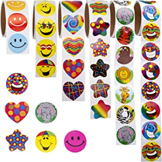 SAVITA 6 Rolls 600 Assorted Incentive Stickers Unique Designs for Kids Teachers Party Supplies Game Prizes