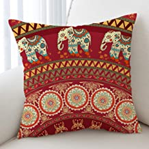 Sleepwish Mandala Throw Pillow Cover Bohemian European Square Pillow Sham Indoor/Outdoor Cushion Covers 28x28 Inch (Red Elephant)