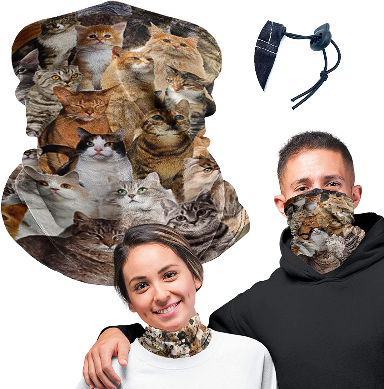 Cute Cats Winter Neck Gaiter Warmer Soft Face Mask Scarf Headwear for Cold Weather Ski Hunting Cycling Outdoor Sports