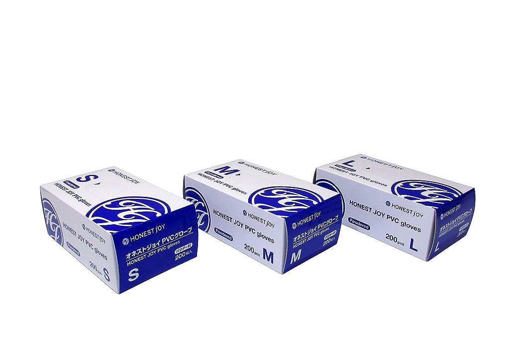 システム乳白色マイクロフォンオネストジョイ PVC グローブ パウダー付 Mサイズ 1箱200枚入り
