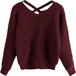 Women's Criss Cross Crew Neck Solid Long Sleeve Knit Pullover Sweaters
