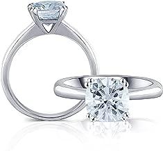 DovEggs Platinum Plated Silver 2ct Diameter 7.5mm Cushion Cut 2.8mm Width 8 Prongs Little Bit Blue Moissanite Engagement Ring Solitare for Women
