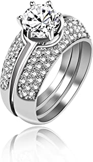 Uloveido Platinum Plated Round Cut Simulated Diamond White AAA CZ 3pcs Stacking Wedding Rings Set for Women Gift Boxed (Size 6 7 8 9 10) Y432