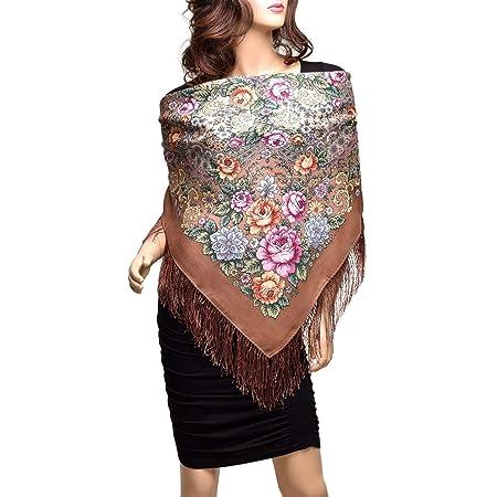 1398-2 17x59inhes crepe de Chine 43x150cm Pavlovo Posad russian scarf 100/% silk