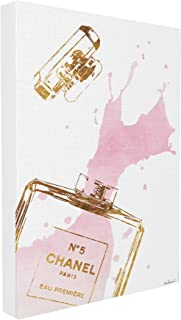 Stupell Industries Glam Perfume Bottle Splash Pink Gold Oversized Stretched Canvas Wall Art, Proudly Made in USA