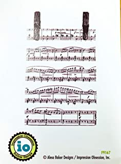 Impression Obsession IO Music Notes Red Rubber Cling Stamp F9167