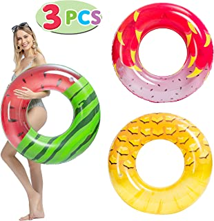 "JOYIN Inflatable Pool Tube Raft 32.5"" (3 Pack) with Fruits Painting, Funny Inflatable Pool Float Toys Swim Tubes for Swimming Pool Party Decorations"