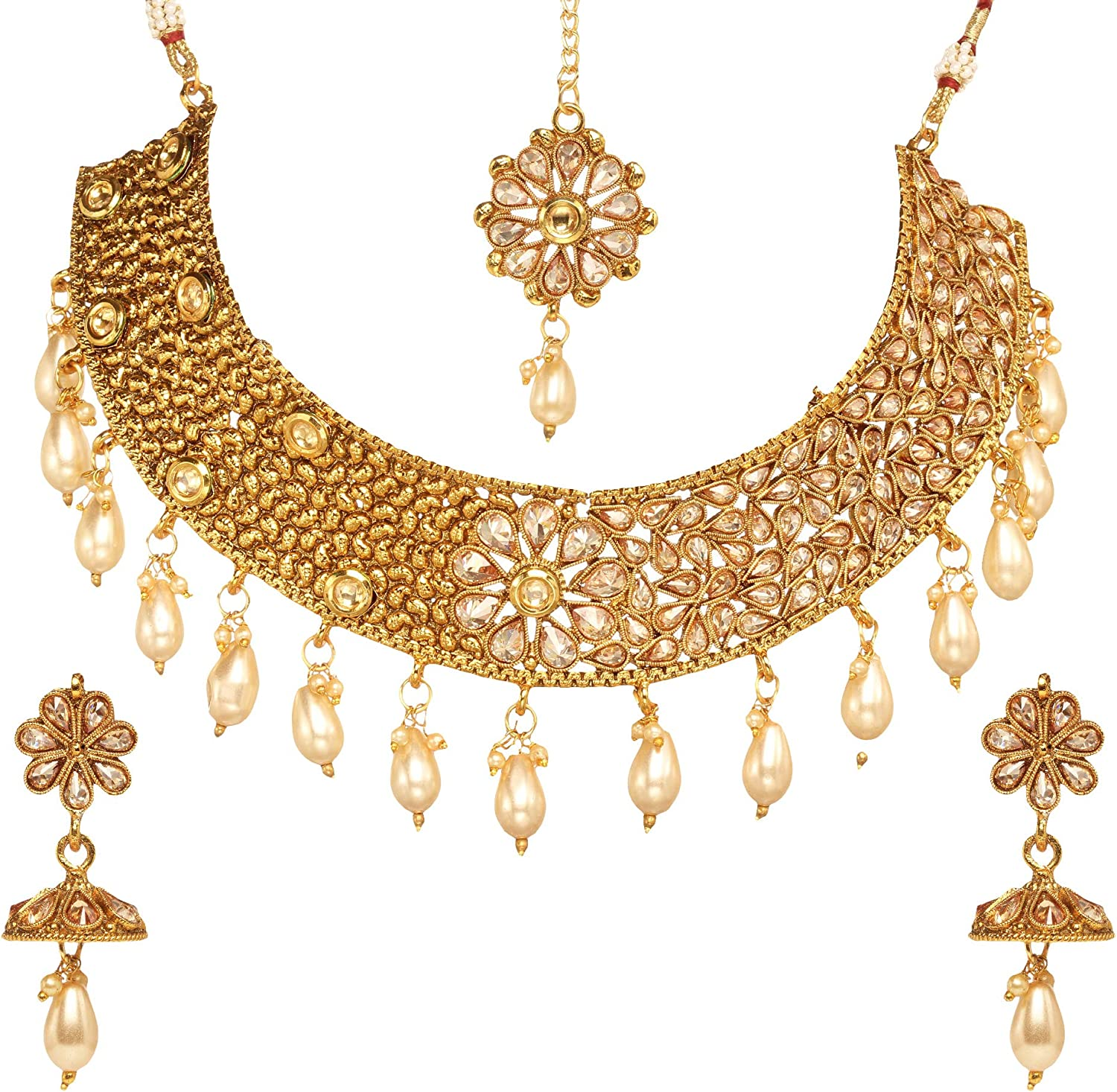 Bindhani Brides Wedding Party Wear Traditional Bridesmaid Ethnic Bridal Bollywood Jewelry Gold Plated Kundan Necklace Earrings Tikka Tika Indian Style Choker Jewellery Set for Women