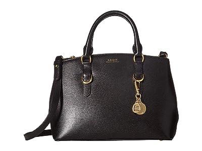 LAUREN Ralph Lauren Saffiano Zipped Satchel Small (Black) Handbags