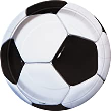 Unique Party 9 Inch 3D Soccer Plates (Pack of 8) (UK Size: 9 Inch) (Black/White)