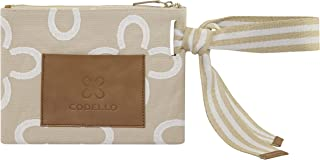 CODELLO Damen Clutch, Beauty Bag | Logo-Design | 100% Baumwolle Canvas | 28,5 x 21,5 cm