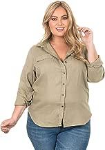 CAMIXA Women's 100% Linen Button Down Plus Size Shirt Two Pockets Curvy Blouse
