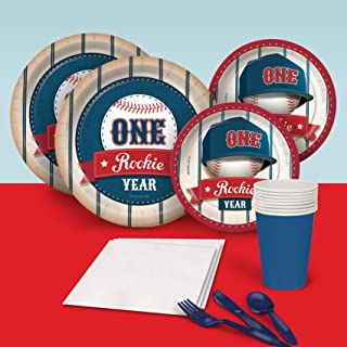 Rookie Year Baseball First 1st Birthday Party Pack for 8 Party Supplies Decorations Plates Napkins Cups Tableware