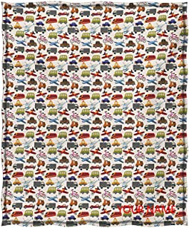 Boys Room Sherpa Reversible Throw, Planes Bikes Cars Trucks Train Taxi Motorcycle Bus Crane Engine Cartoon Art DIY Blanket, Easy Care Comfortable and Warm, Multicolor W40 by L50(to Figure Custom)