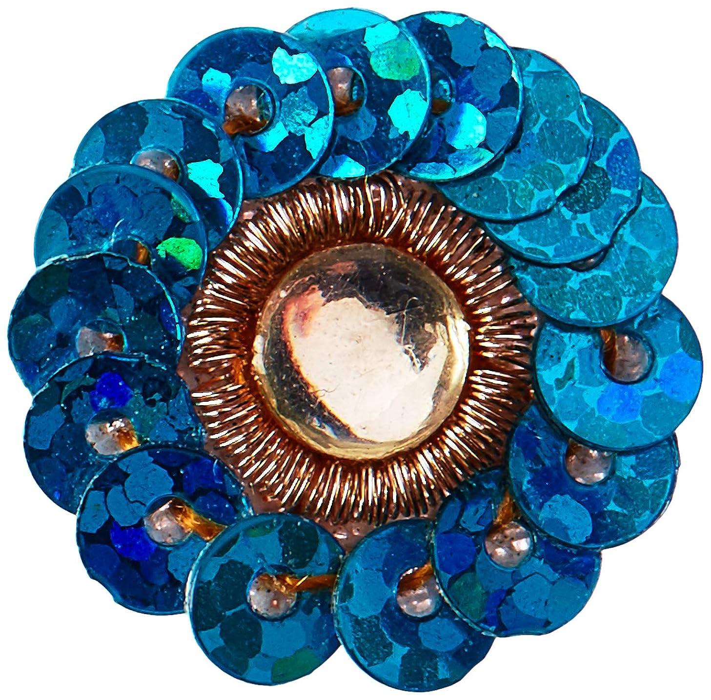 Prima 535100 Raja Flower Center Sequins, Blue