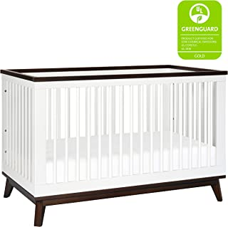 Babyletto Scoot 3-in-1 Convertible Crib with Toddler Bed Conversion Kit, White / Walnut