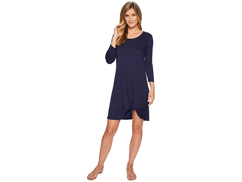 Mod-o-doc Soft Crinkle Jersey 3/4 Sleeve Twist Hem Dress (Navy) Women