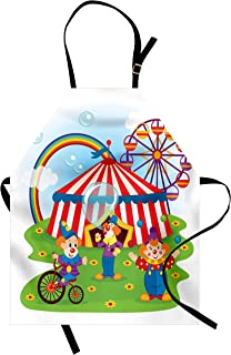 Ambesonne Circus Apron, Circus Scene with Clowns on Grass Rainbow Ferris Wheel Happy Bubbles Childhood Theme, Unisex Kitchen Bib Apron with Adjustable Neck for Cooking Baking Gardening, Multicolor