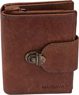 MANDAVA Women's Top Grain Genuine Leather Wallet with Push Lock RFID Wallet Brown with 10 Card Slots Coin Pouch 3A