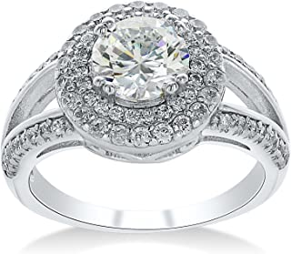 Montage Jewelry Women's Round Halo Cubic Zirconia & Sterling Silver Engagement Ring