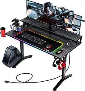 Seven Warrior Gaming Desk 47INCH with RGB Mouse Pad & Power Outlet, Carbon Fiber Surface Gamer Desk with Monitor Stand, Ergonomic Y Shaped Gamer Table with Cup Holder, Headphone Hook, Outlet Organizer