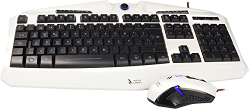Mars Gaming MCPZE1 - Pack de teclado y ratón gaming para PC (12 teclas multimedia, retroiluminación 7 colores, control intensidad, 2800 DPI, 6 botones gaming, ambidiestro), color blanco
