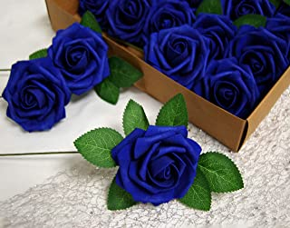 Evershine Artificial Rose Flower Realistic Foam Rose with Stem for DIY Wedding Bouquets Party Decoration (25, Royal Blue)