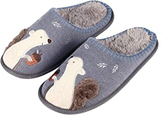 Cute Animal House Slippers for Women Fuzzy Squirrel Home Shoes Waterproof Sole Indoor Slippers