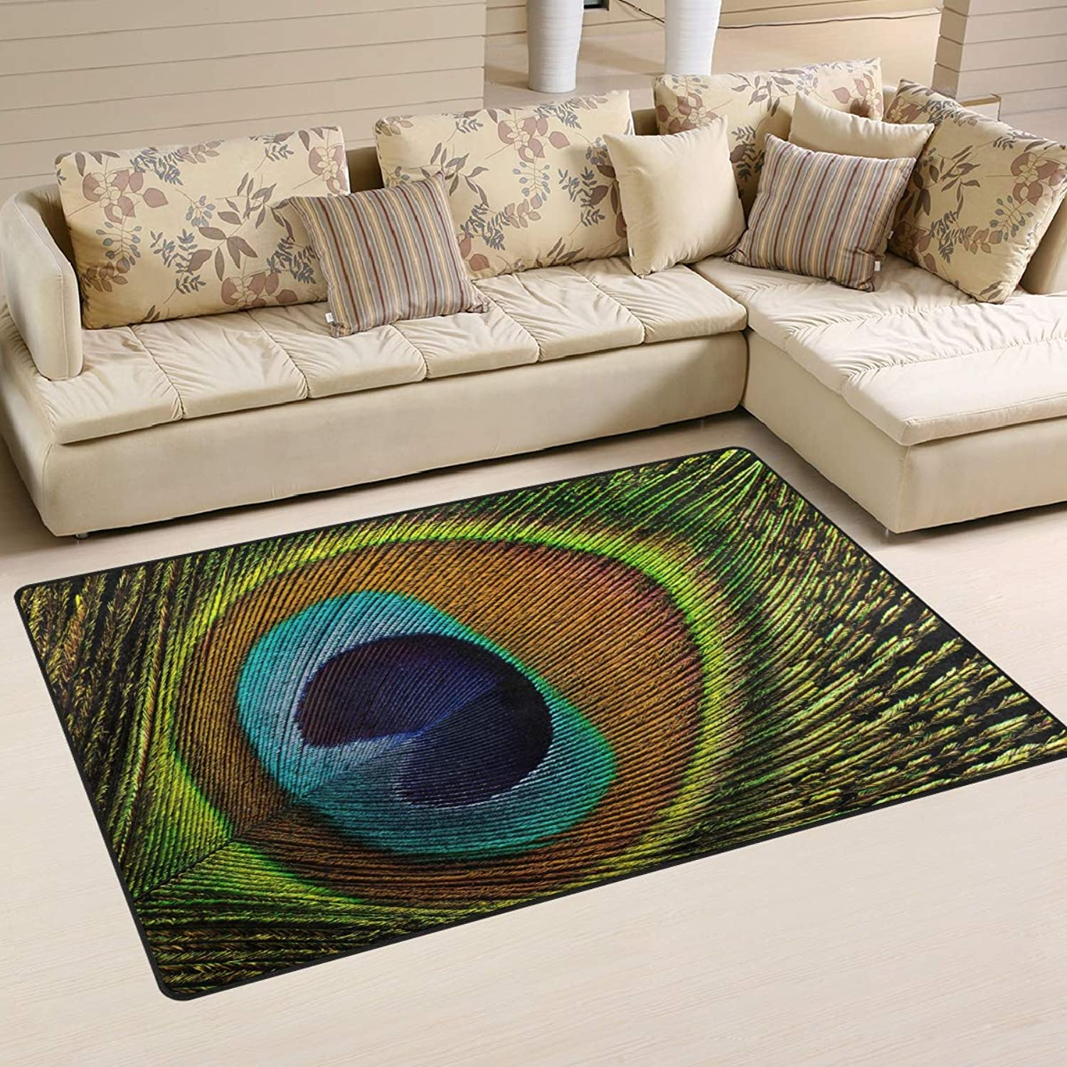 Area Rugs Doormats Peacock Feathers 5'x3'3 (60x39 Inches) Non-Slip Floor Mat Soft Carpet for Living Dining Bedroom Home