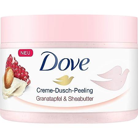 Dove Crema de ducha exfoliante para una piel sedosa y suave de granada y manteca de karité con una textura rica, 4 unidades (4 x 225 ml).