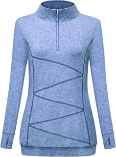 MOQIVGI Quarter Zip Casual Pullover Sweatshirts Long Sleeve Side Pockets Workout Tops with Thumb Holes