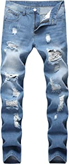 FREDD MARSHALL Men's Skinny Slim Fit Ripped Distressed Stretch Jeans Pants