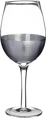 Premier Housewares Large Wine Glasses Silver Dipped Round Cocktail Glasses Metallic Detailing Martini Glasses Champagne Glasses Wine Glasses Set of 4