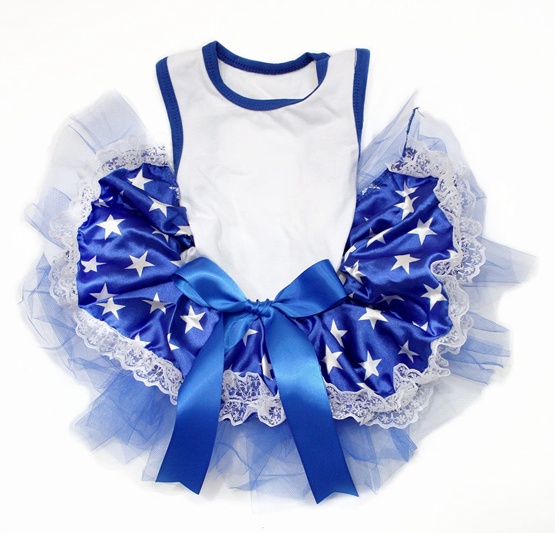 Petitebella Plain Shirt Blue Patriotic Dres Puppy Tutu Stars Popular popular Dog Free Shipping New