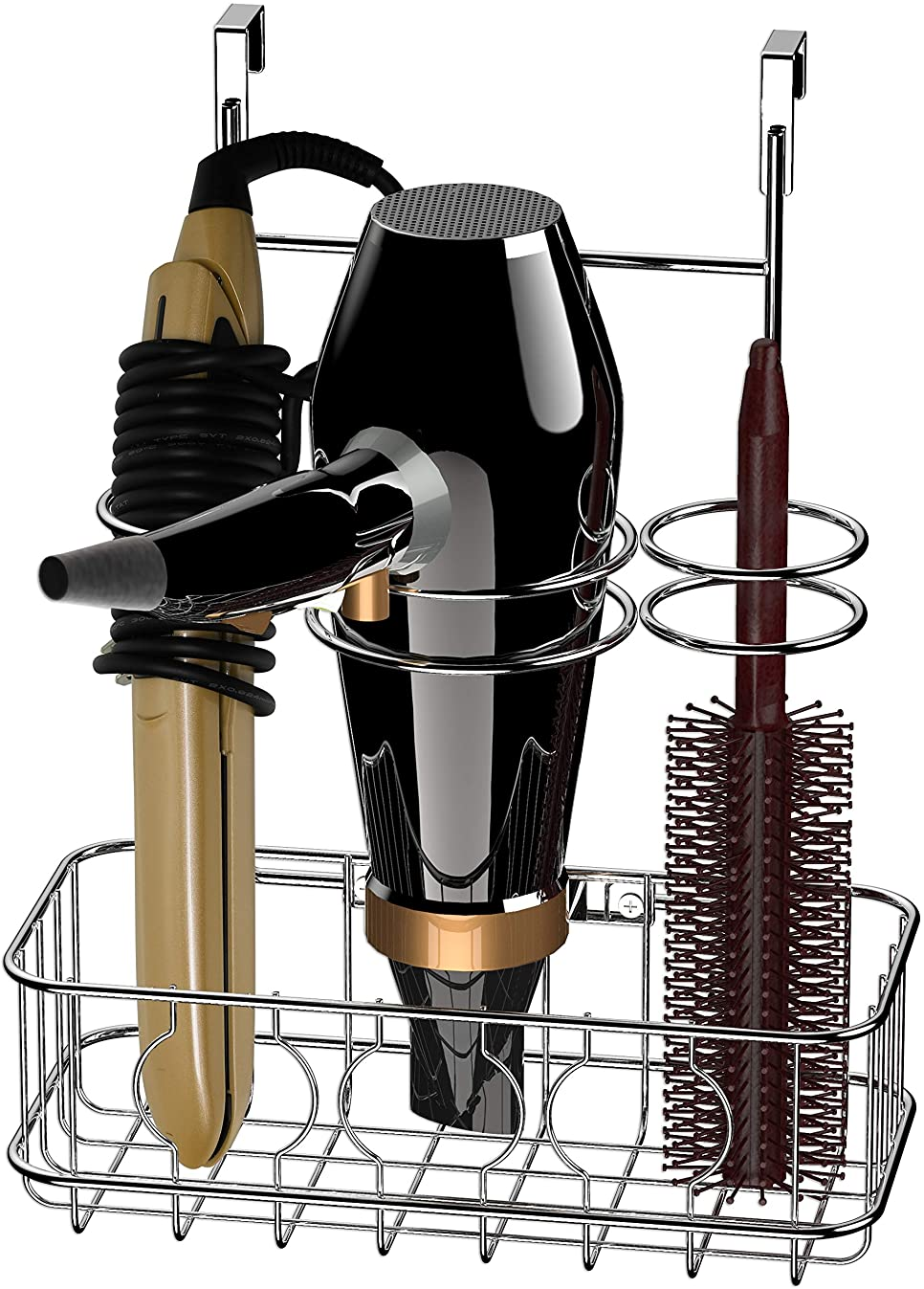 Simple Houseware Cabinet Door/Wall Mount Hair Dryer & Styling Tools Organizer Storage, Chrome