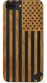 iPhone 8 Plus Case, CaseYard [ Wood Series ] Slim Fit Hybrid iPhone 8 Plus Case, Lightweight Premium Made in California, Black American Flag