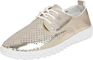 Catwalk Women's Cut Out Metalic Loafers