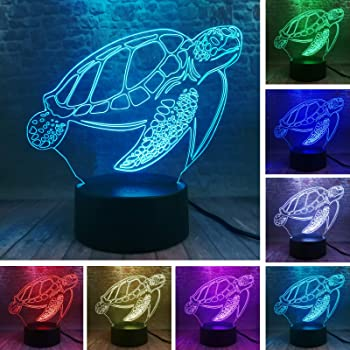 Night Lights For Kids Sea Turtles 3D Lamp Led Touch Light Colorful Animal Lamp Birthday Party Decoration Figurines Table Lamp For KidS Toys Gift
